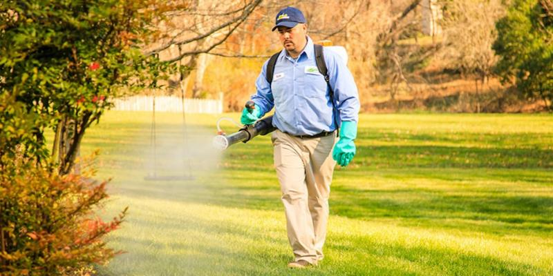 Lawn care technician from The Green Team spraying a lawn with mosquito treatment.